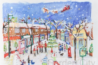 Christmas card scene of the Wynd in Letchworth Garden City