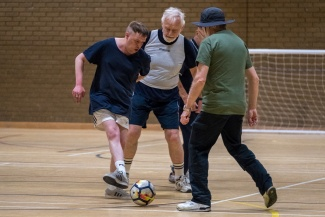 Men playing walking football in Letchworth Garden City