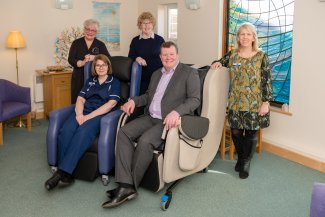 A new chair at the Garden House Hospice Care thanks to a charitable grant