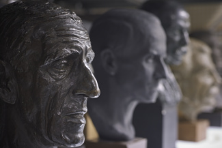 A selection of bronze and plaster busts of well known personalities from Letchworth's early years